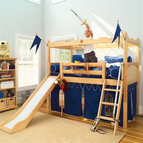 boys loft beds camelot castle low loft bed with slide by maxtrix kids 395