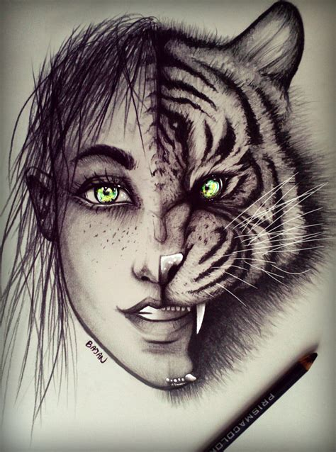 women tiger drawing by bajan art on deviantart