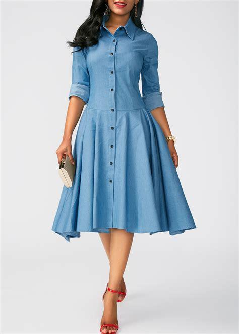 design lab black dress asymmetric hem turndown collar blue dress rosewe com