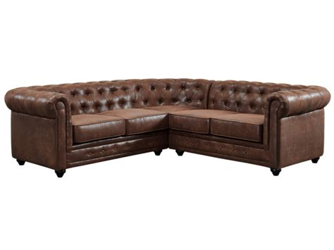 canape d angle chesterfield canap 233 d angle en microfibre vieillie chocolat chesterfield