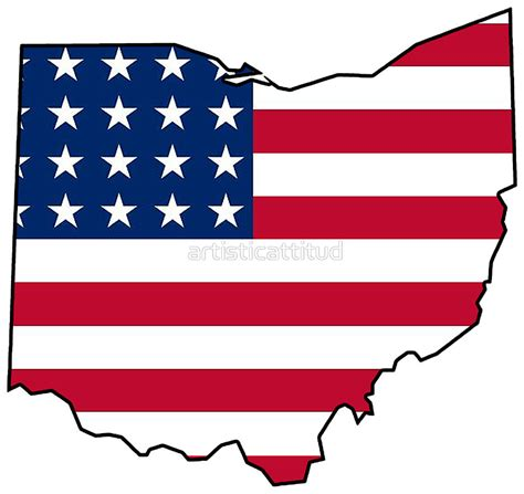 Us State Flag Outlines by Quot American Flag Ohio Outline Quot Stickers By Artisticattitud Redbubble