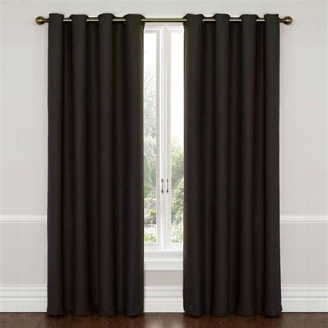 black eclipse curtains eclipse wyndham blackout jet black curtain panel 84 in