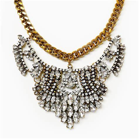 Rhinestone Necklace vintage bib gold chain collar necklace with rhinestones
