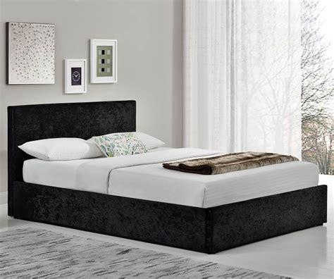 velvet ottoman bed birlea furniture berlin black crushed velvet fabric