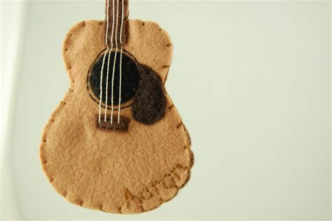 Felt Guitar Pattern | personalized acoustic guitar felt ornament made to order