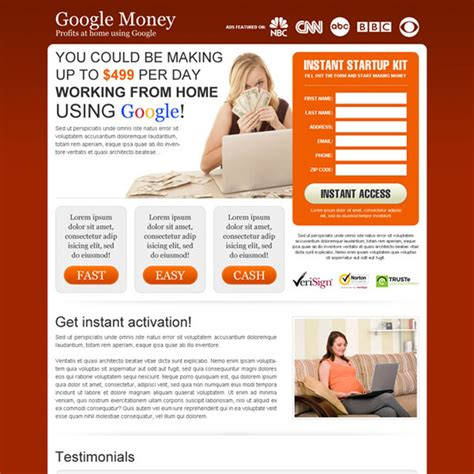 money landing page design templates to earn money