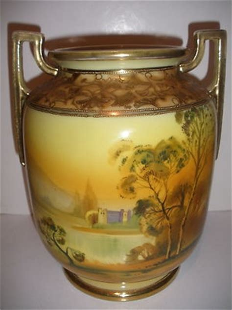 Hand Vase Antique Nippon Japan Hand Painted Scenic Landscape