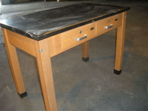 Soapstone Table Top Oak Laboratory Table Two Drawers Black Soap Top