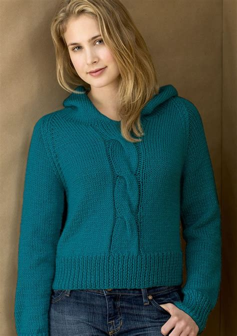 knitted hoodie pattern womens hooded sweater knitting patterns in the loop knitting