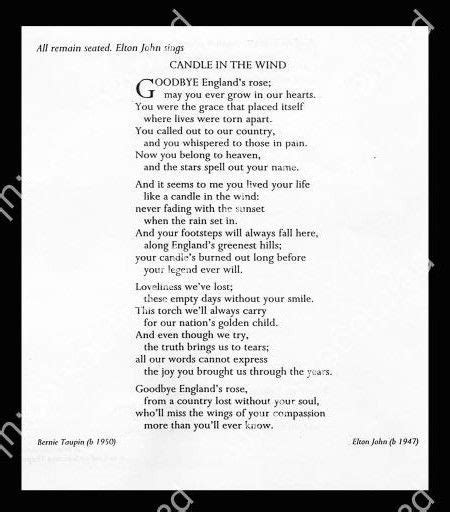 elton john candle in the wind lyrics elton john s song candle in the wind for diana the