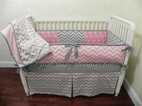 Pink And Gray Chevron Crib Bedding by Custom Crib Bedding Set Hailey Pink And Gray By