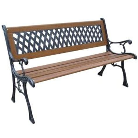 home depot outdoor bench parkland heritage mesh resin patio park bench slp408br