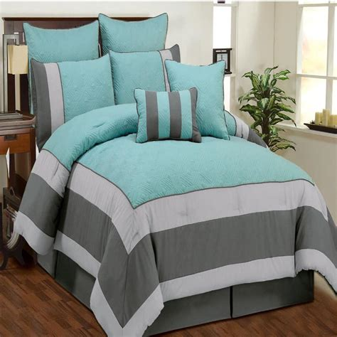 aqua and gray bedding aspen aqua blue smoke gray quilted comforter bed in a