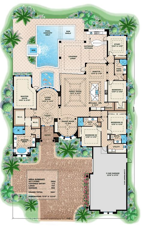 one level luxury house plans mediterranean style house plan 4 beds 4 baths 5607 sq ft