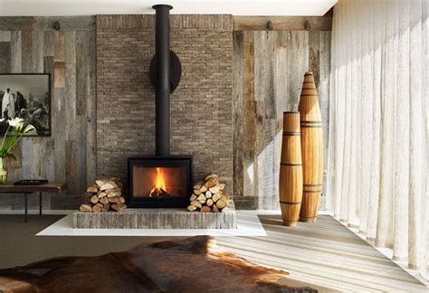 rustic textures modern style around this fireplace