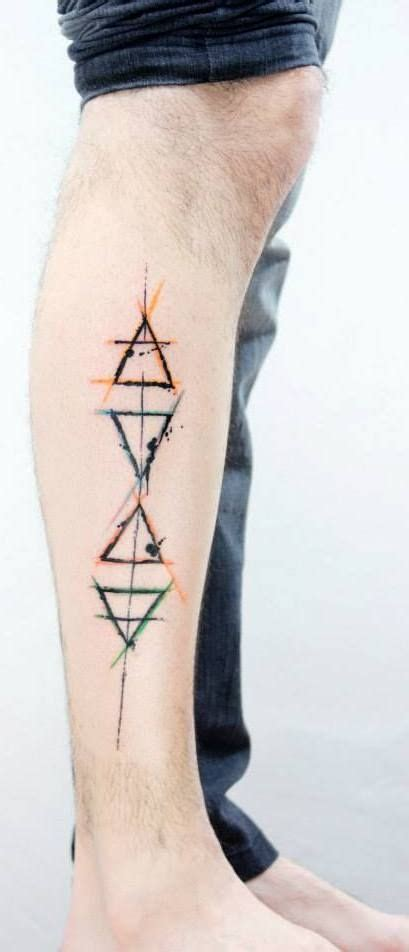 watercolor triangle tattoos on calf for boys http