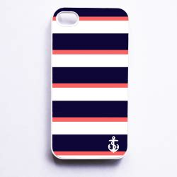Iphone 4 4s Adidas Square Stripe Hardcase nautical iphone 4 for iphone 4 4s navy coral stripe with anchor on luulla