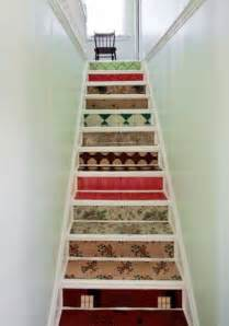 decorating staircase adding beautiful wallpapers to stairs risers for original staircase designs