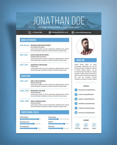 free simple resume design template for web graphic designer psd file resume