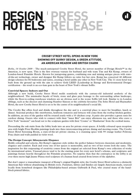 new year hotel press release design hotels press release 14 10 2009 crosby