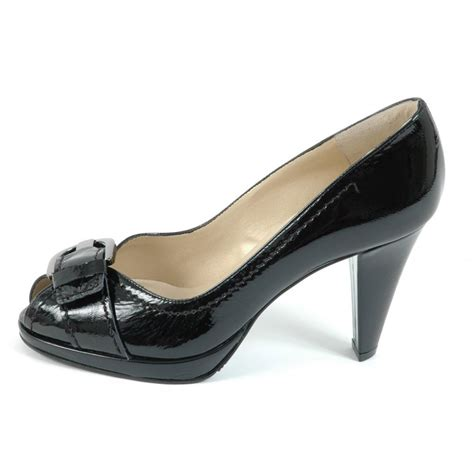 Patent Pumps kaiser sonna high heel peep toe pumps in black