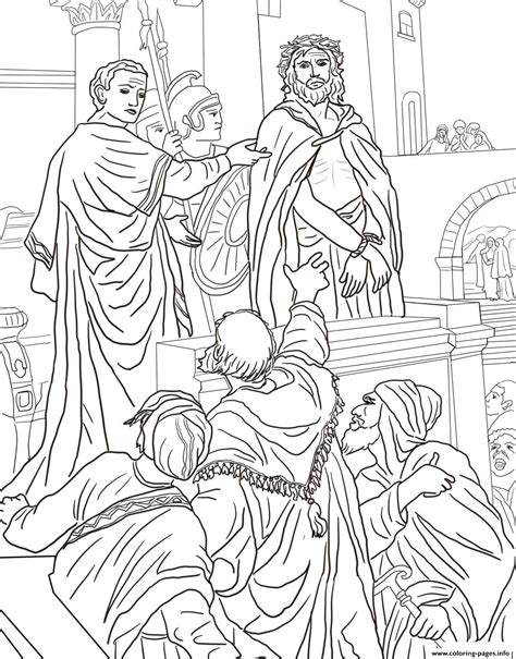 coloring pages jesus trial friday 9 pontius pilate asks the crowd coloring pages