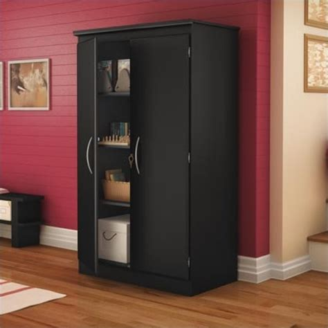 Black Storage Cabinet With Doors by South Shore Park 2 Door Storage Cabinet In Solid Black