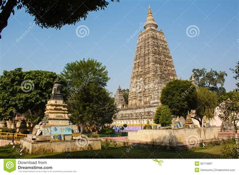 Stupa Trees And Buddhist Temple In Bodhgaya India Stock Photo   Image: 50774897