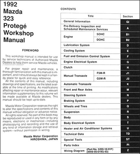 1992 mazda 323 protege repair shop manual original