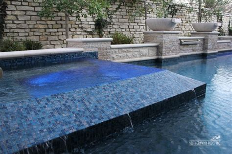 glass tile spa swimming pool and landscaping