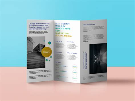 brochure trifold template psd tri fold brochure mockup by graphicsfuel rafi dribbble