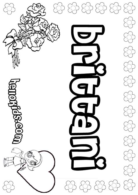 coloring name pages to print brittani coloring pages hellokids com