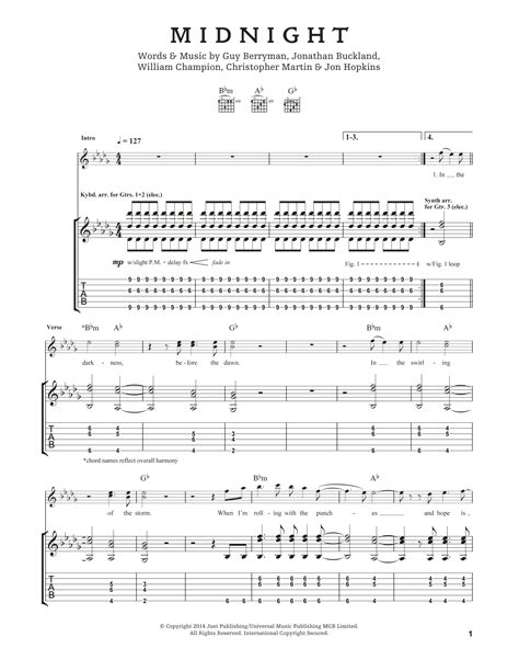 coldplay midnight lyrics midnight by coldplay guitar tab guitar instructor