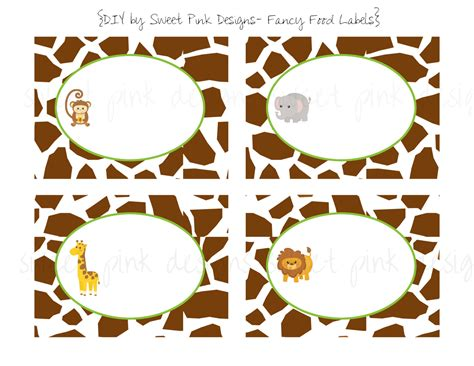 printable jungle labels jungle animalsfancy food labels
