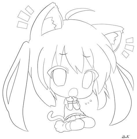 cute chibi coloring pages cute chibi cat girl line art by llunet1 deviantart com on