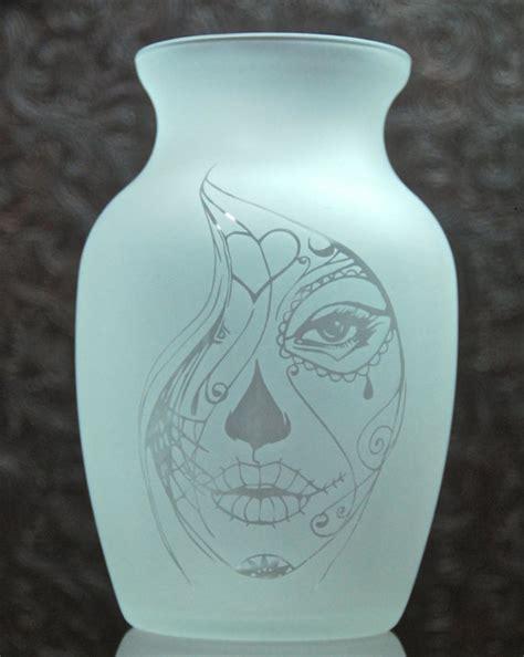 Sugar Vase by Sugar Skull Vase Glass Etched Vase Day Of The Dead