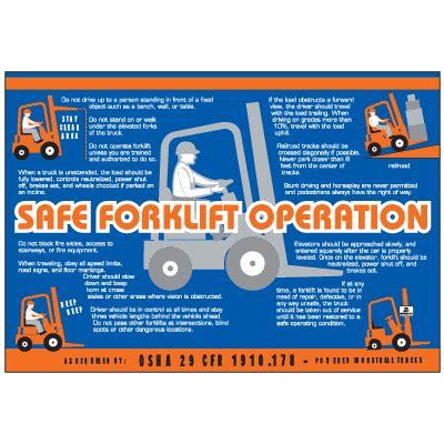forklift operation workplace safety wallchart seton