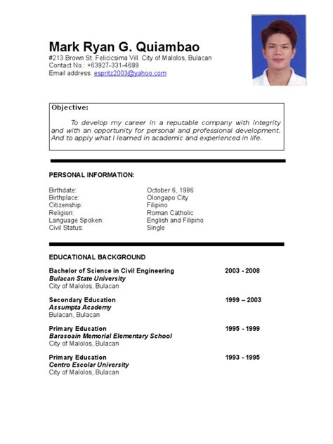 Resume Sle Format Tagalog Quiambao Resume Philippines Civil Engineering