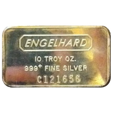 10 troy ounce 999 silver bar engelhard 10 oz 999 silver bar sku 61010