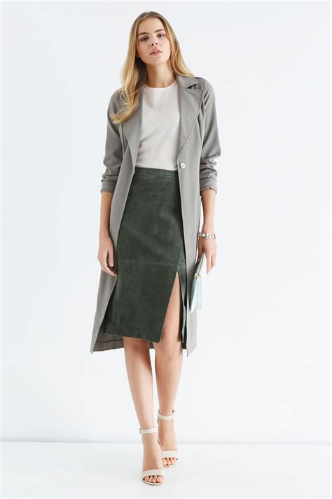 green suede pencil skirt dress ala