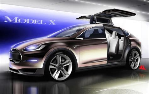 tesla model x crossover revealed has falcon doors
