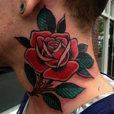 neck tattoo no job old school neck rose jan netten http www classictattoo