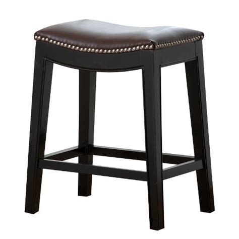 Nailhead Counter Stool Leather by Abbyson Paula Leather Nailhead Trim Counter Stool Brown
