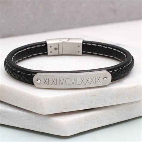 mens leather id bracelets personalised leather s id bracelet hurleyburley