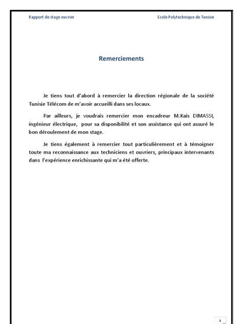 Présentation Lettre De Remerciement Stage 3eme Mon Rapport De Stage Ouvrier