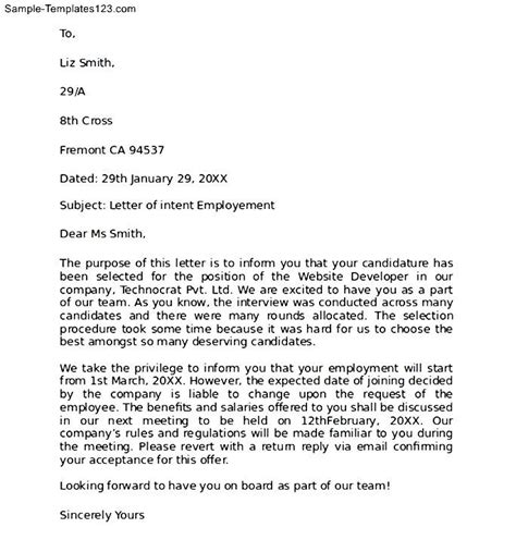 Letter Of Intent For Employment Doc Letter Of Intent For Employment Exle Sle Templates