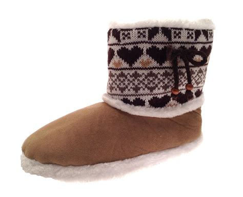 womans slipper boots womens slipper boots knitted fur fleece booties