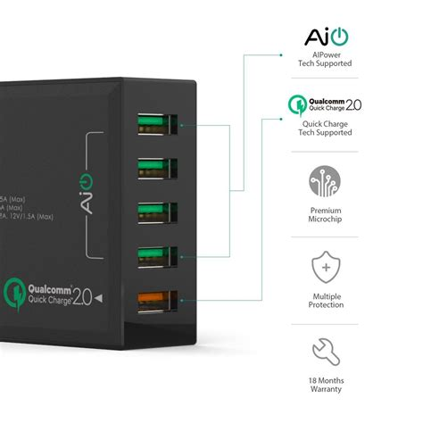 Aukey Usb Charging Station 5 Port 54w Pa T15 Hitam aukey qualcomm certified 5 ports charging station 2 0 themobilestore
