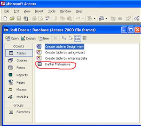 membuat database mahasiswa dengan access tutorial membuat database dengan microsoft access 2010