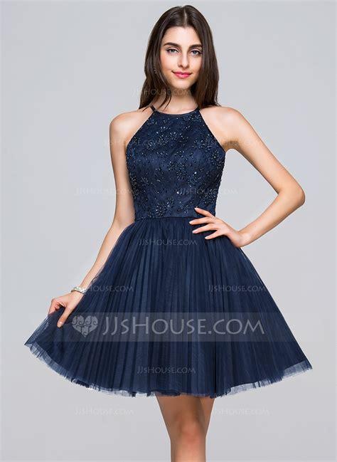 Mini Tulle Dress a line princess scoop neck mini tulle lace